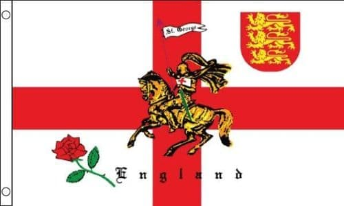 English Rose and Lion VALUE 3ft x 2ft Flag