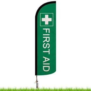 First Aid Green Advertising Flag - Large