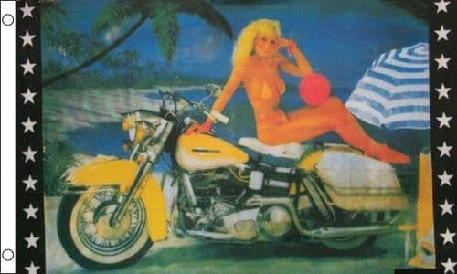 Girl with Motorcycle 5ft x 3ft Flag