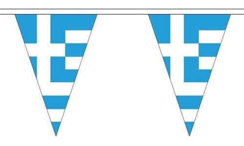 Greece Triangle Bunting (5m) - 12 Flags