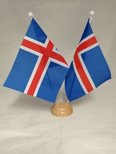 Iceland Double Wooden Table Flag