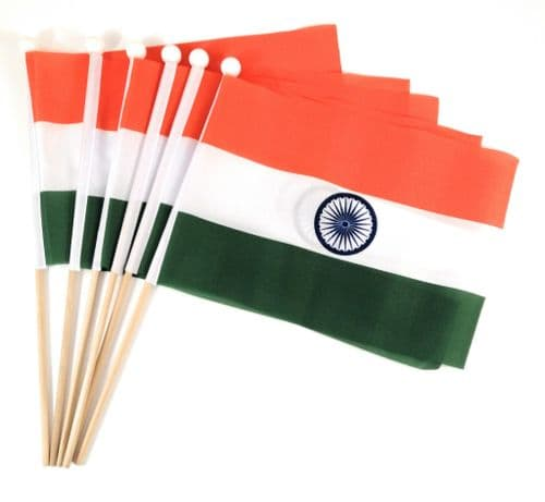 India Hand Flag - 6 Pack