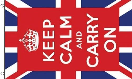 Keep Calm and Carry On - UK 5ft x 3ft Flag