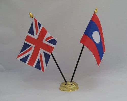 Laos with UK Friendship Table Flag