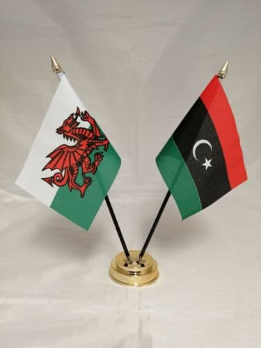 Libya with Wales Friendship Table Flag