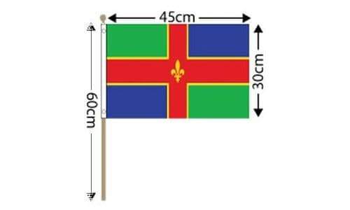 """Lincolnshire Large Hand Flag (18"""" x 12"""") - 12 PACK"""