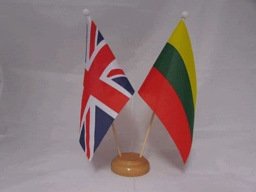 Lithuania Friendship Wooden Table Flag