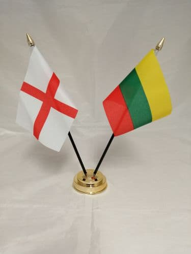 Lithuania with England Friendship Table Flag