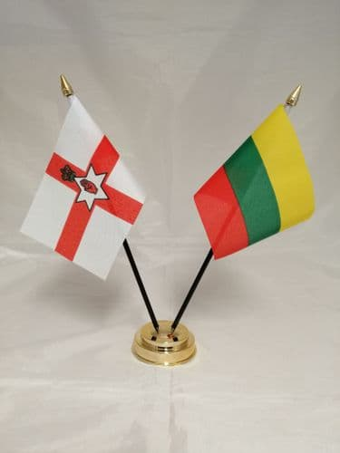 Lithuania with Northern Ireland Friendship Table Flag