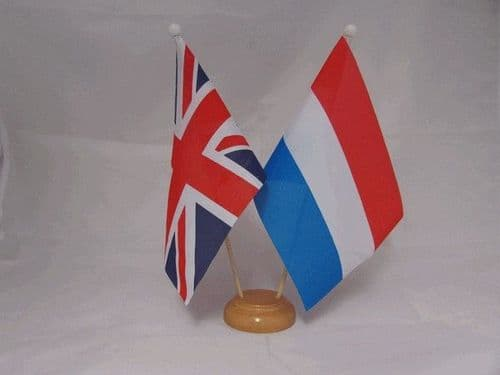 Luxembourg Friendship Wooden Table Flag