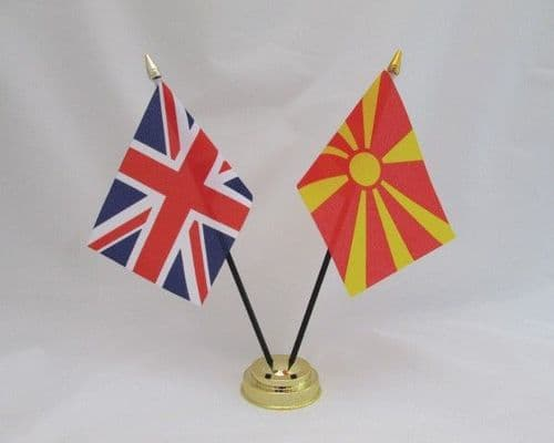 Macedonia with UK Friendship Table Flag
