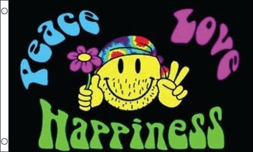 Peace Love and Happiness 5ft x 3ft Flag