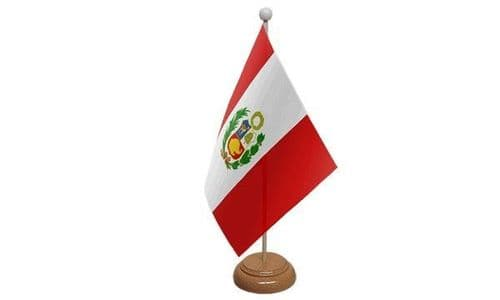 Peru Wooden Table Flag