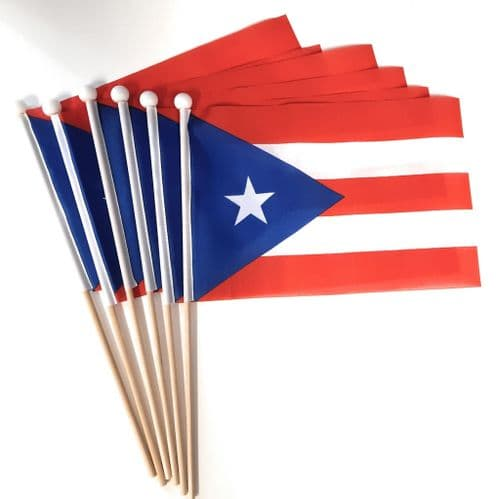 Puerto Rico Hand Flag - 6 Pack