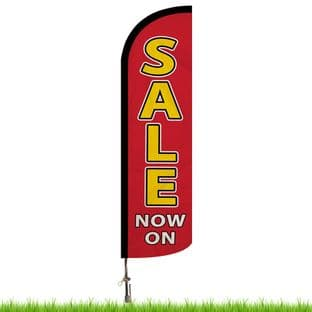 Sale Now On Red Advertising Flag - Large