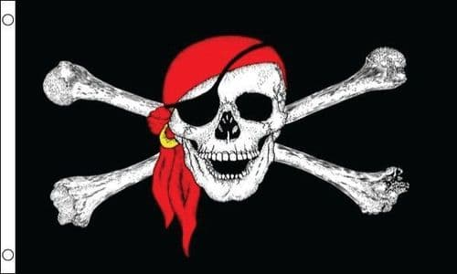 Skull With Scarf Pirate SLEEVED Flag - 1.5ft x 1ft