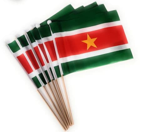Suriname Hand Flag - 6 Pack