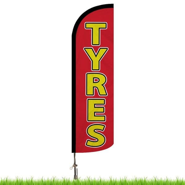 Tyres Red Advertising Flag - Large