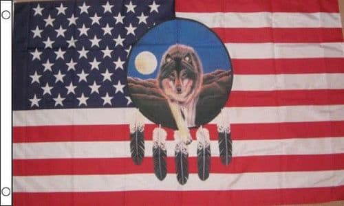 USA Feather With Wolf 5ft x 3ft Flag