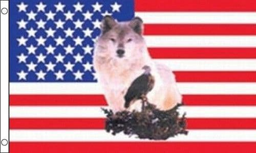 USA With Wolf and Eagle 5ft x 3ft Flag
