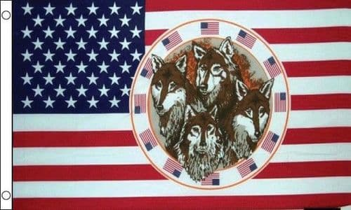 USA with 4 Wolves 5ft x 3ft Flag