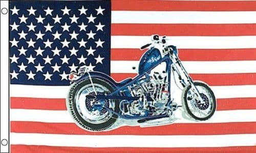 USA with Motorcycle 5ft x 3ft Flag