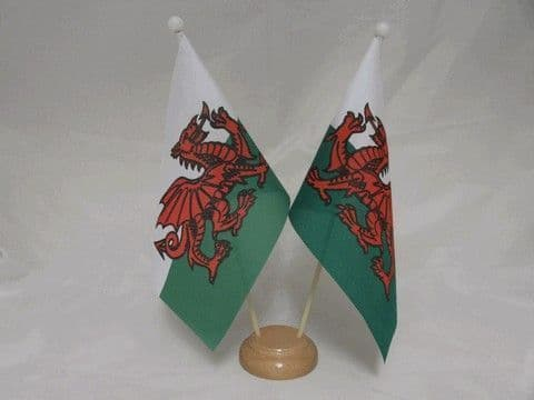 Wales Double Wooden Table Flag