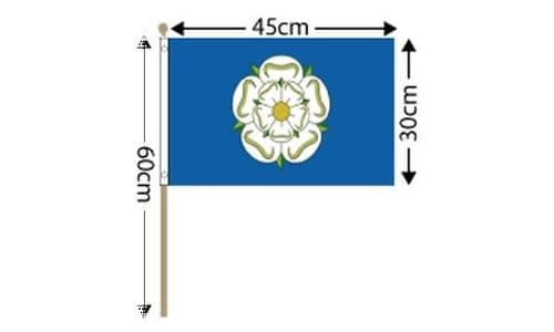 """Yorkshire Large Hand Flag (18"""" x 12"""") - 12 PACK"""
