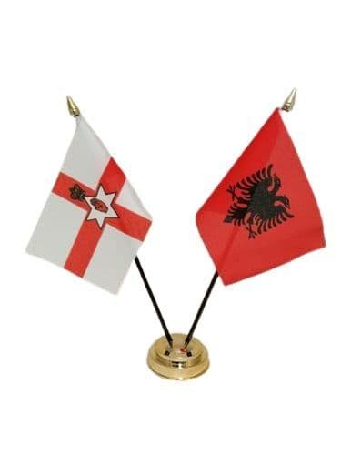 Albania with Northern Ireland Friendship Table Flag