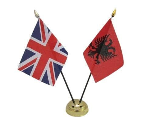 Albania with UK Friendship Table Flag