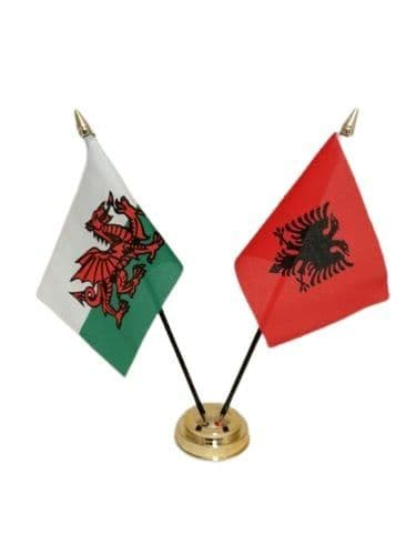 Albania with Wales Friendship Table Flag