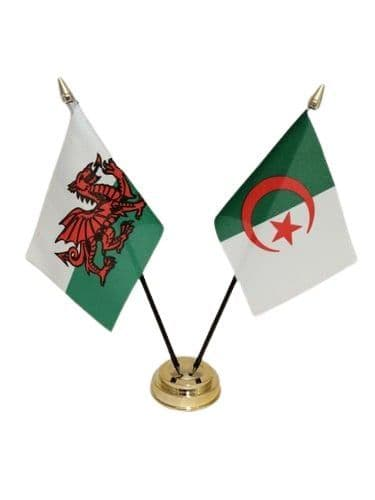 Algeria with Wales Friendship Table Flag