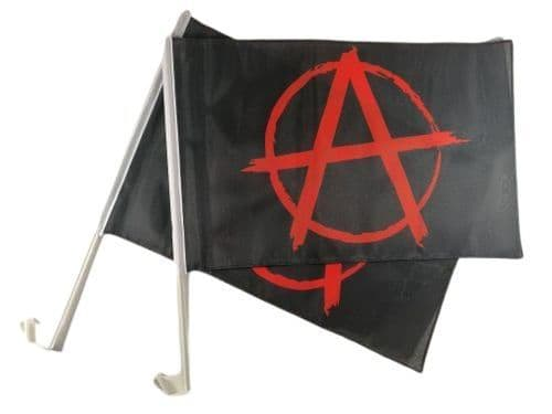 Anarchy Red Car Flag - 2 Pack