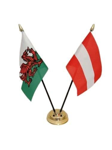 Austria with Wales Friendship Table Flag