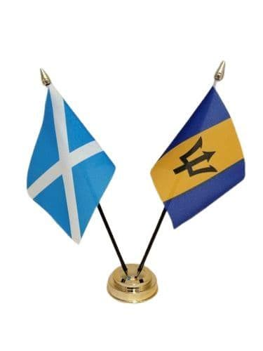 Barbados with Scotland Friendship Table Flag