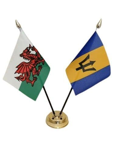 Barbados with Wales Friendship Table Flag