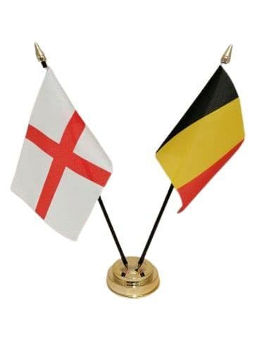 Belgium with England Friendship Table Flag