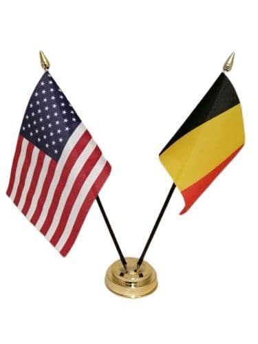 Belgium with USA Friendship Table Flag