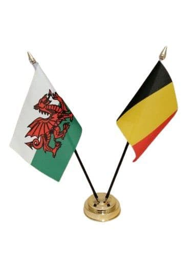Belgium with Wales Friendship Table Flag