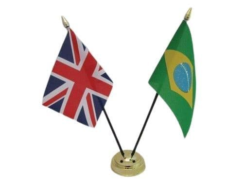 Brazil with UK Friendship Table Flag