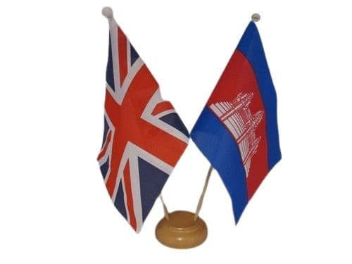 Cambodia Friendship Wooden Table Flag