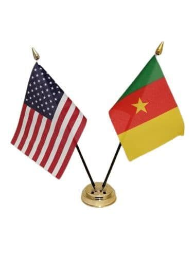 Cameroon with USA Friendship Table Flag