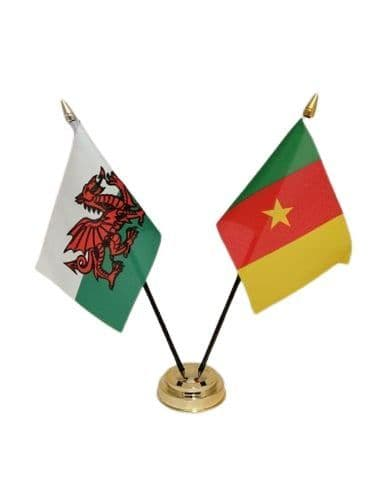 Cameroon with Wales Friendship Table Flag
