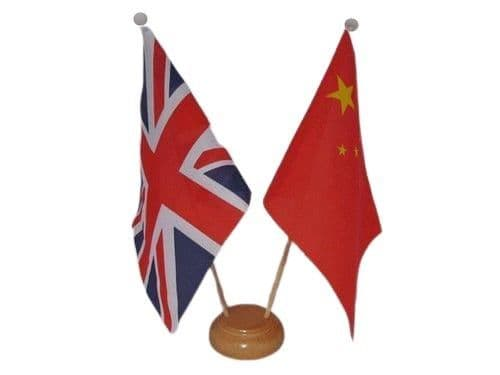 China Friendship Wooden Table Flag