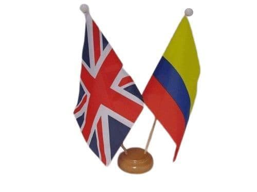 Colombia Friendship Wooden Table Flag