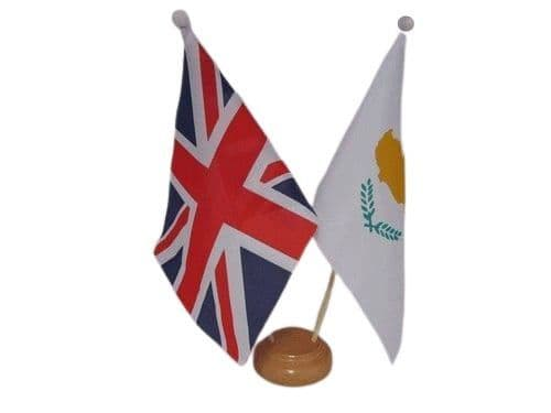 Cyprus Friendship Wooden Table Flag