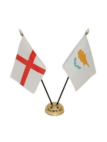 Cyprus with England Friendship Table Flag