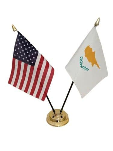 Cyprus with USA Friendship Table Flag
