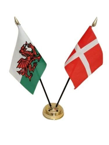 Denmark with Wales Friendship Table Flag