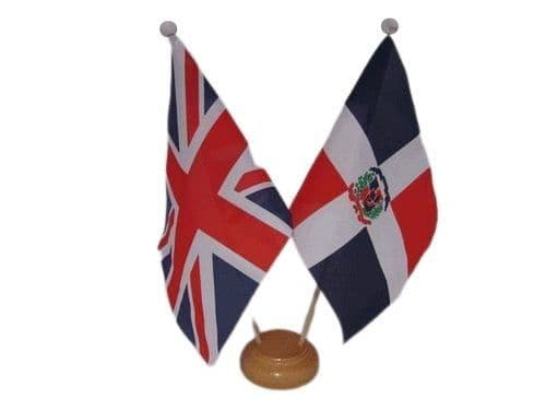 Dominican Republic Friendship Wooden Table Flag